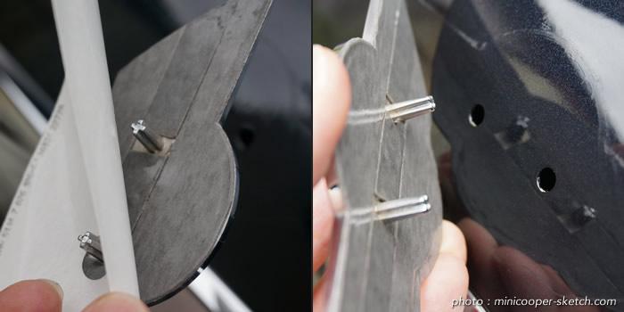 ミニクーパー エンブレム 裏面の両面テープ
