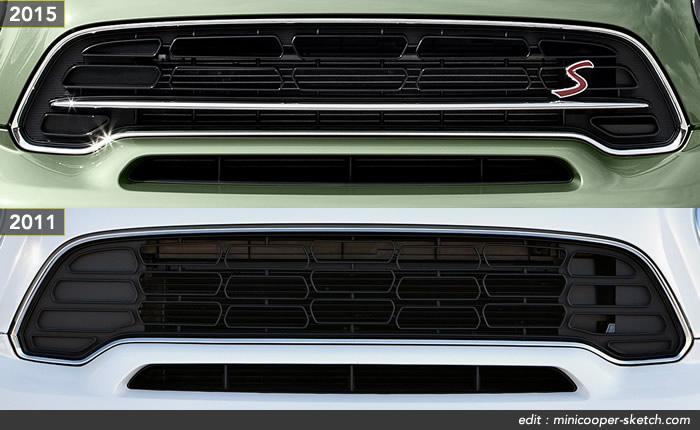 ミニクロスオーバー r60 2015年モデル フロントグリルの違い