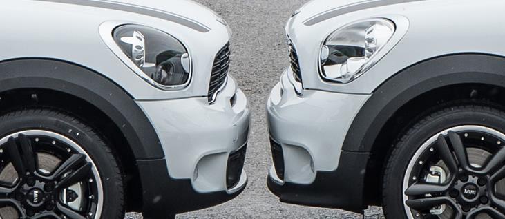 ミニクロスオーバーとペースマン フロントグリルとフロントリップの比較 サイド