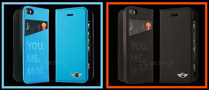 ミニクーパー iphone5 手帳型 ブルー ブラック