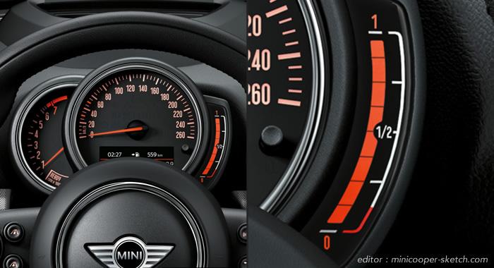 MINI F56 F55 F57 F54 F60 2017年7月の変更 燃料計