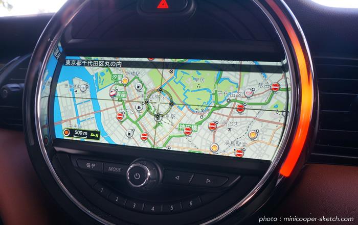 ミニ 純正ナビゲーションシステム マップ表示画面