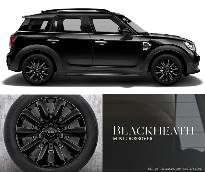 ミニクロスオーバー F60 限定車 ブラックヒース 18インチ アロイホイール ピンスポーク ブラック