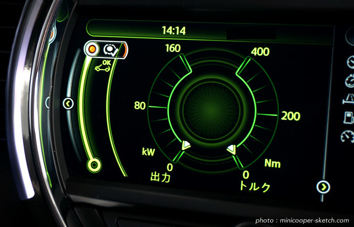 ミニドライビングモード スポーツモードの出力とトルクゲージ