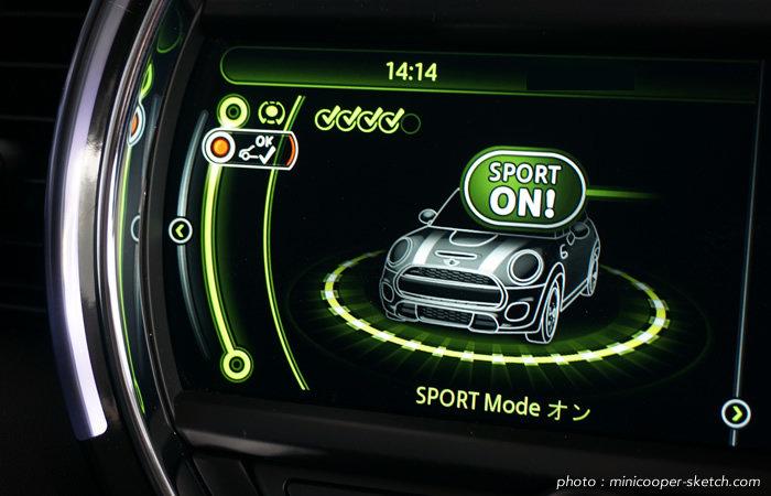 ミニドライビングモード スポーツモード 詳細画面