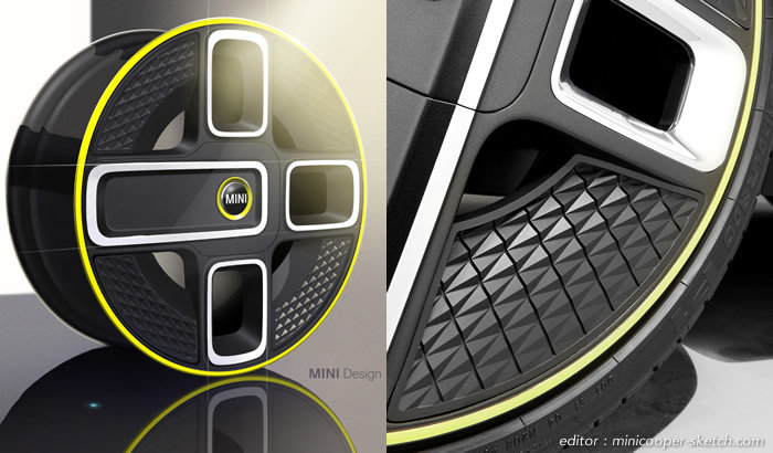 MINI E(電気自動車)ホイールのデザインスケッチ