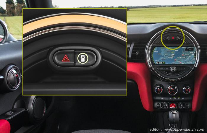 ミニクーパー 衝突被害軽減ブレーキのスイッチ